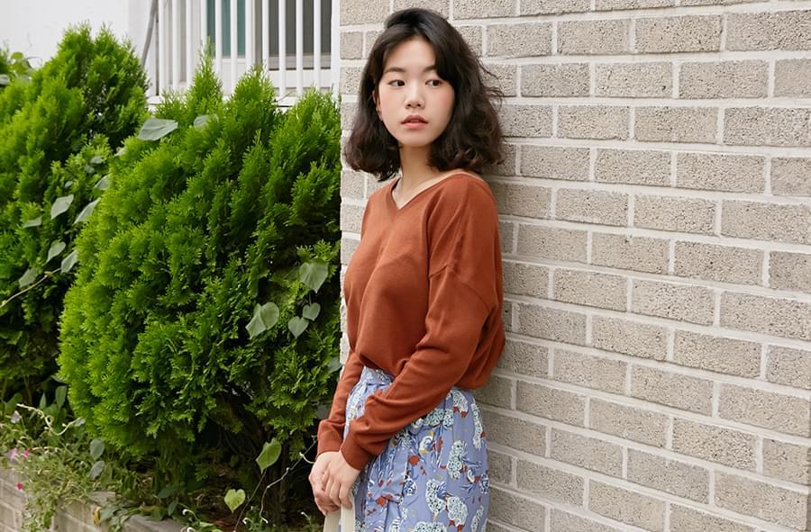 Mild v-neck knit&cardigan_H (size : free)