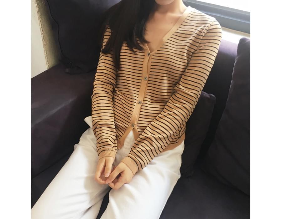 Hazelnut stripe cardigan_M (size : free)