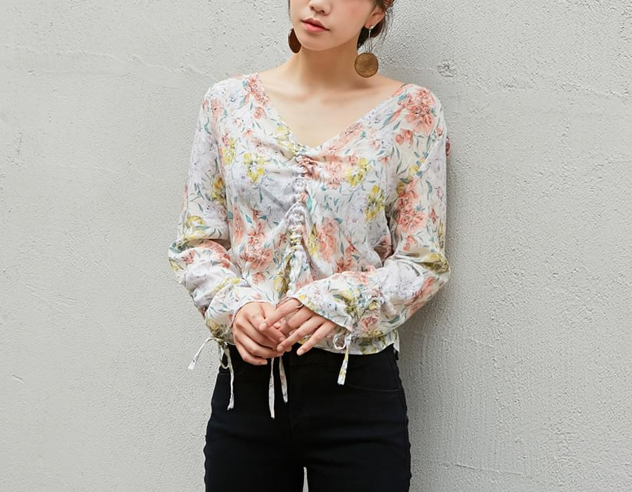 Peach blossom string blouse_M (size : free)