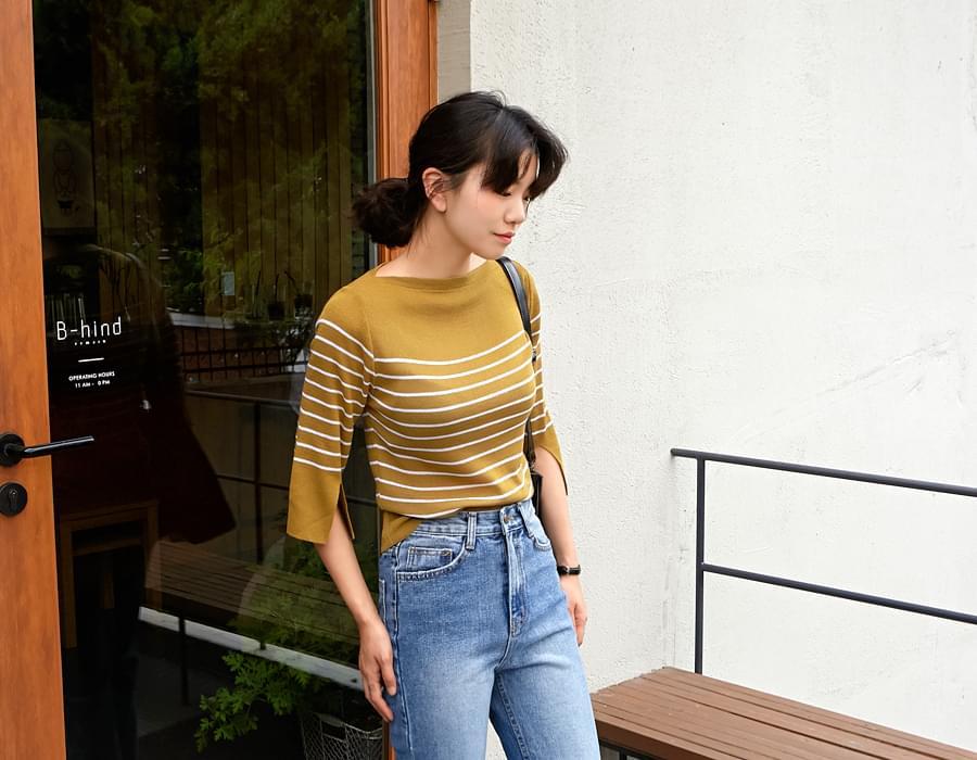 Slit sleeve stripe knit_S (size : free)