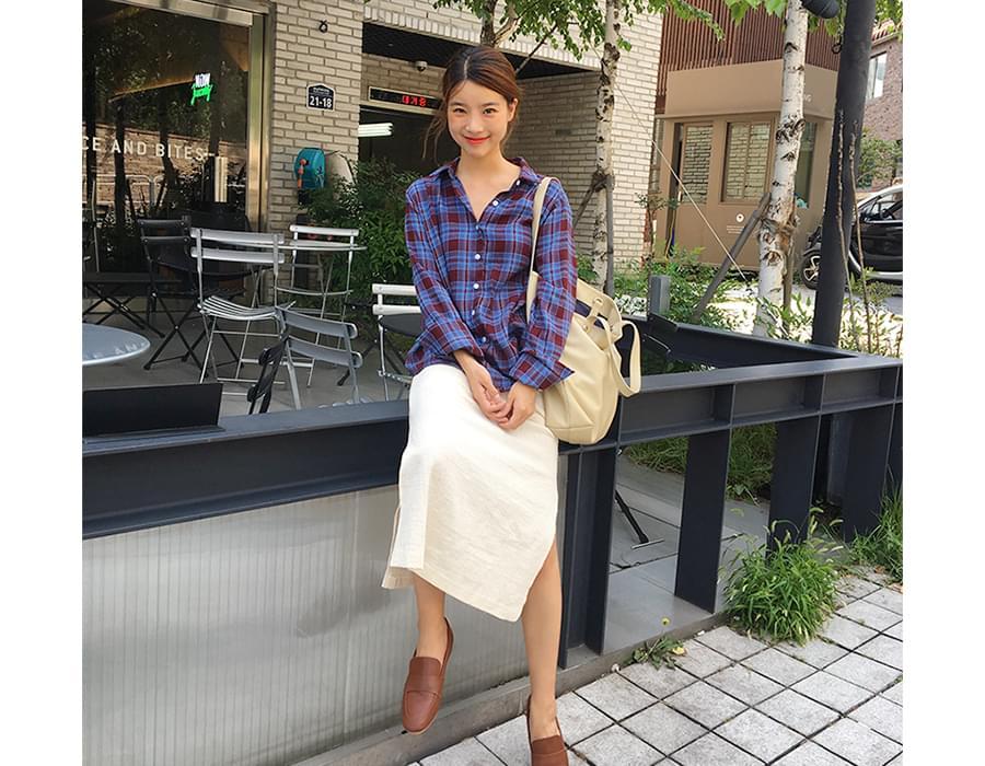 Slit gauze long skirt_B (size : free)