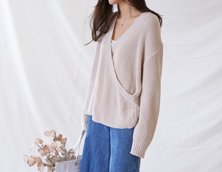Mono wrap cable knit_S (size : free)