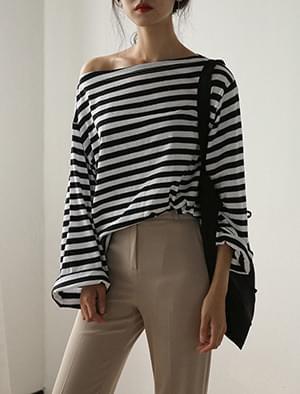 boat neck stripe tee