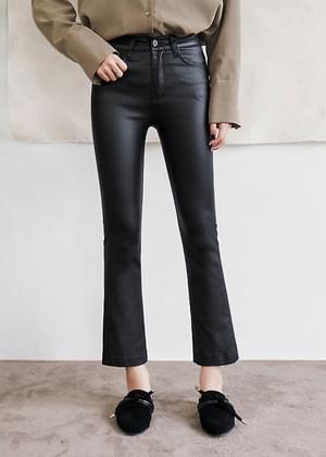 Coated Semi-Boot Cut Pants
