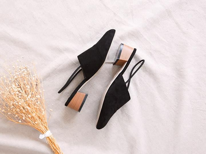 SUADE WOODEN SLINGBACK SHOES