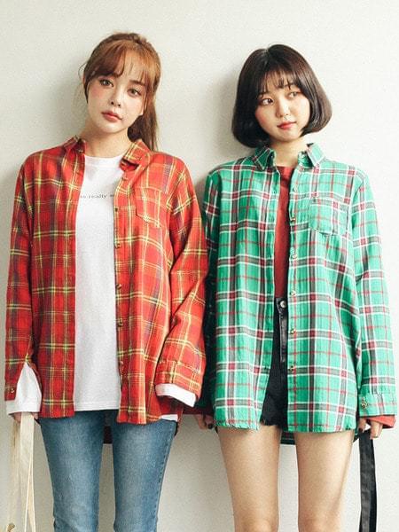 베이직 체크 셔츠 (nb338)