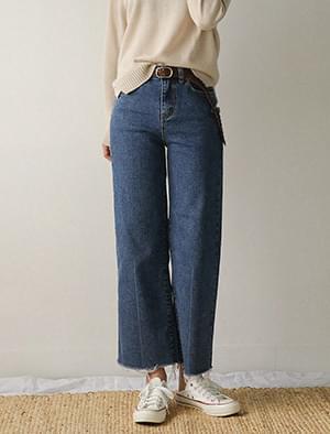 semi boots-cut high denim pants
