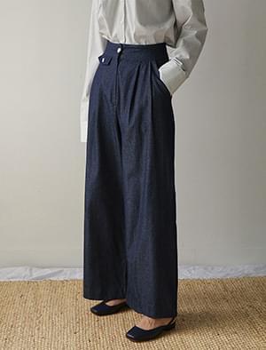 pocket detail denim wide pants