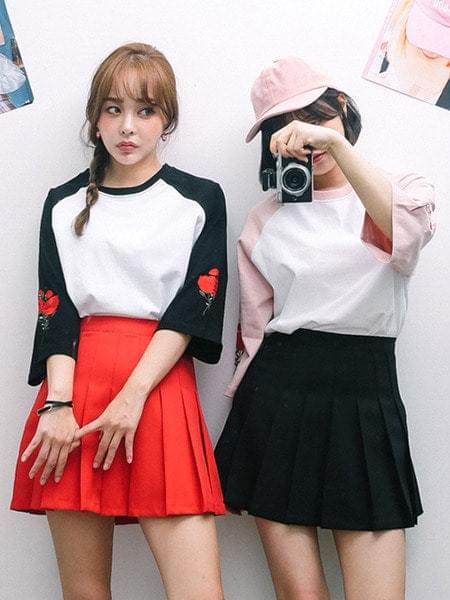 장미 자수 나그랑 티셔츠 (t3624)