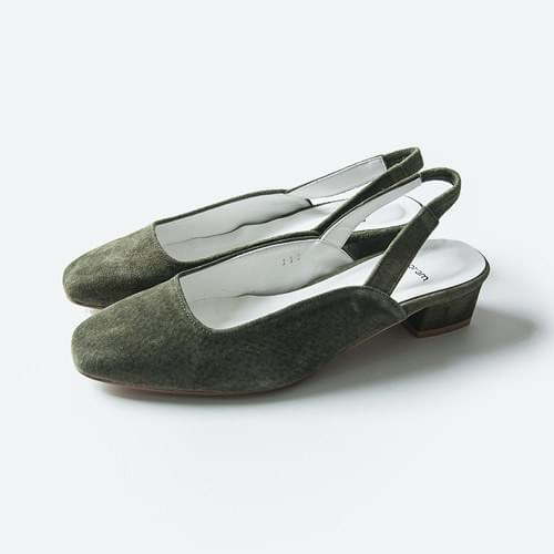 Suede middle slingback shoes