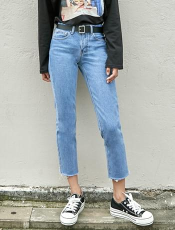 straight crop denim pants