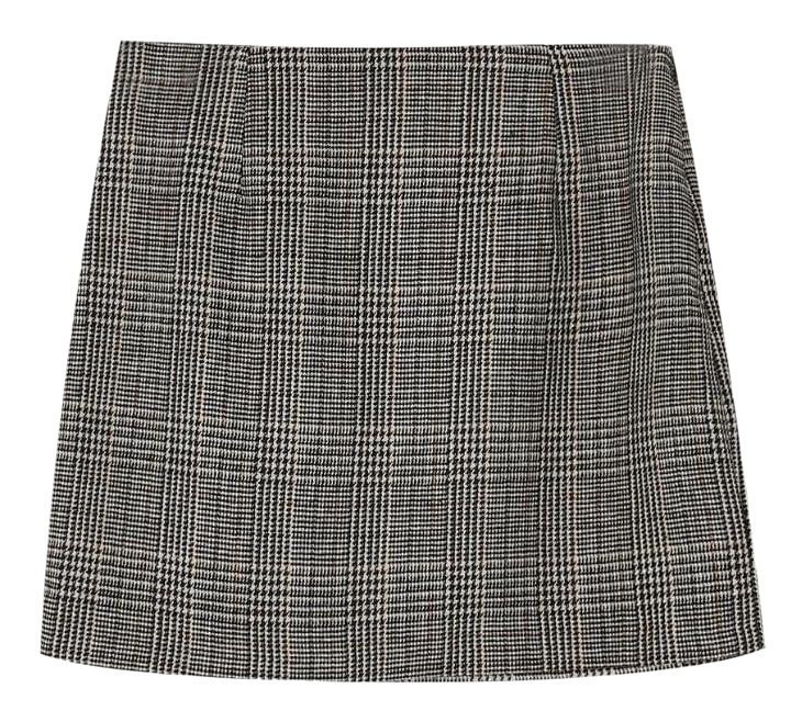 glen check mini skirt
