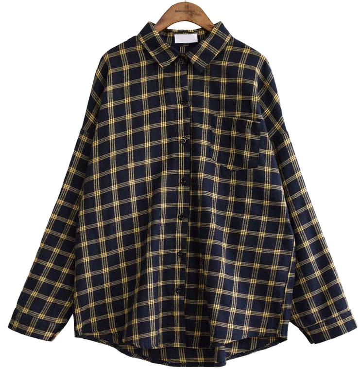 LOOSE FIT POCKET CHECK SHIRTS