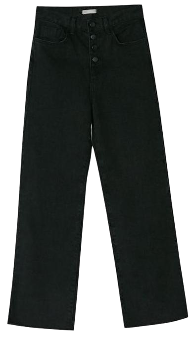 4-button black straight pants