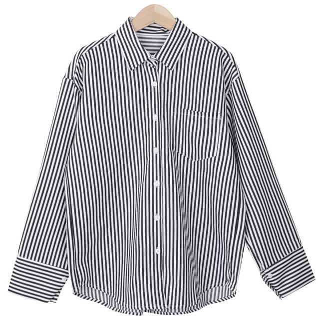볼드 커프스 스트라이프 셔츠