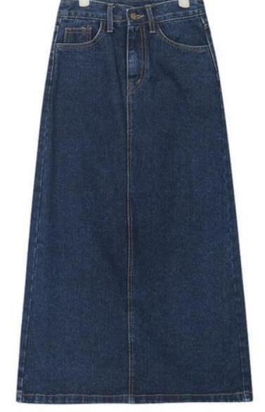 behind long slit denim skirt (s, m, l)