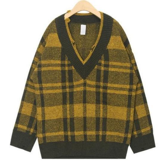 vintage fray check v-neck knit