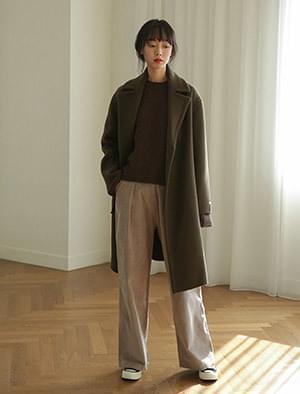 slit overfit wool coat