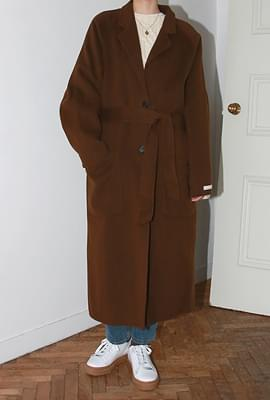Belted single handmade coat