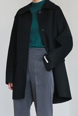 Wool basic half handmade coat