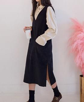 Corduroy Slit Dress