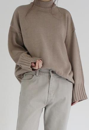 Basic half neck knit (4color)