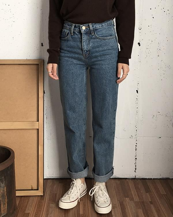 Retro long wide denim 牛仔褲