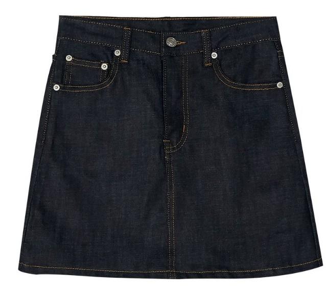 deep blue A-line skirt