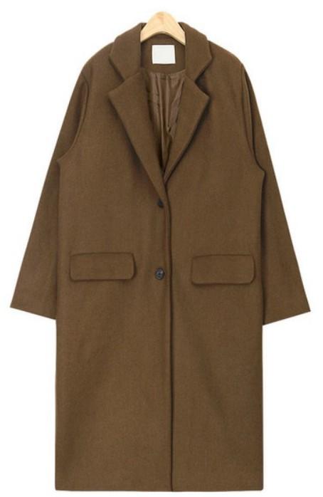 wearing simple wool coat