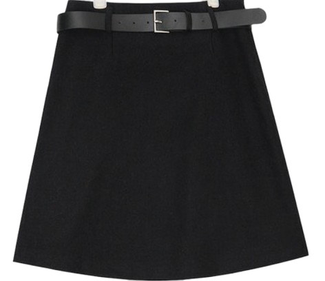 belt herringbone wool skirt (s, m)