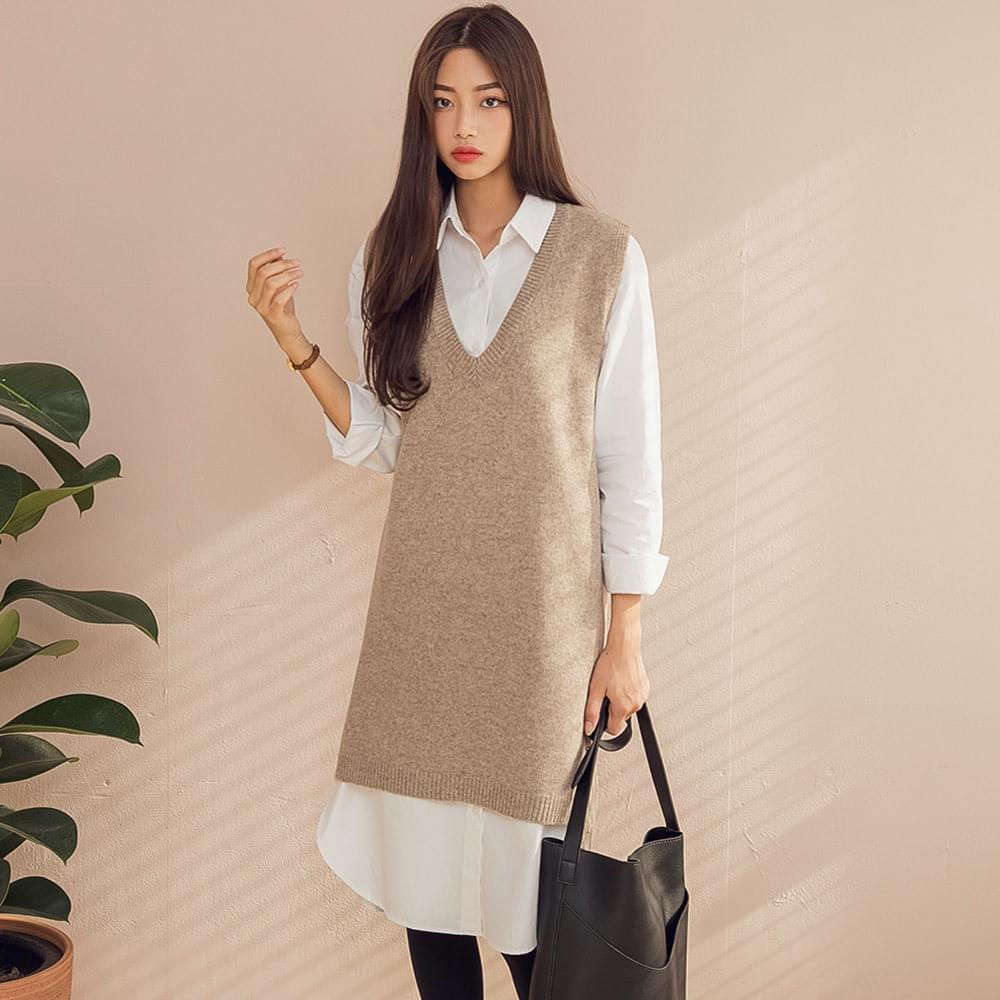 lambs wool knit dress (lambswool70%)