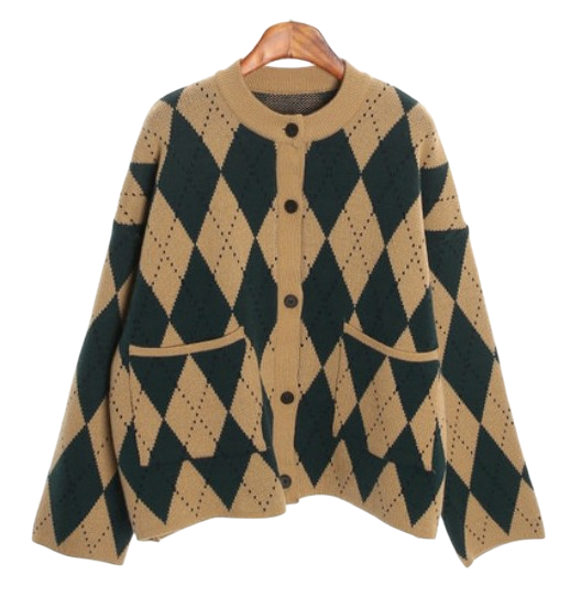 latte argyle cardigan