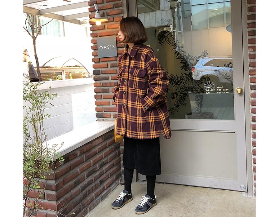 Boucle check pocket coat_B (size : free)