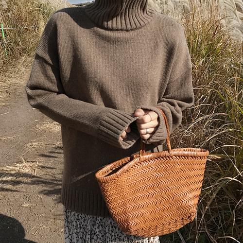 Heart-turtleneck knit (wool 70%) [size: 44 ~ plump 66 / 4color]