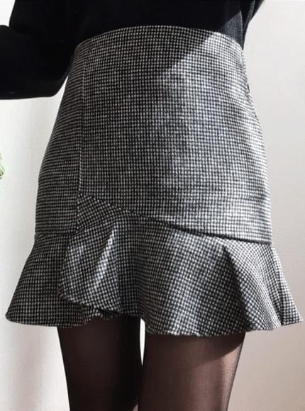 Alice check uncut skirt