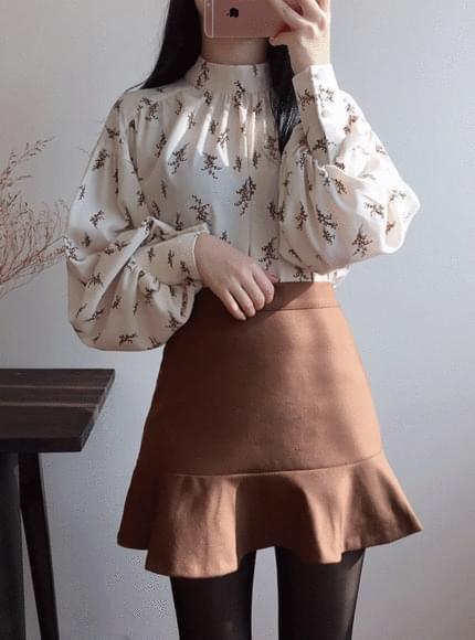 Zara balloon flower blouse