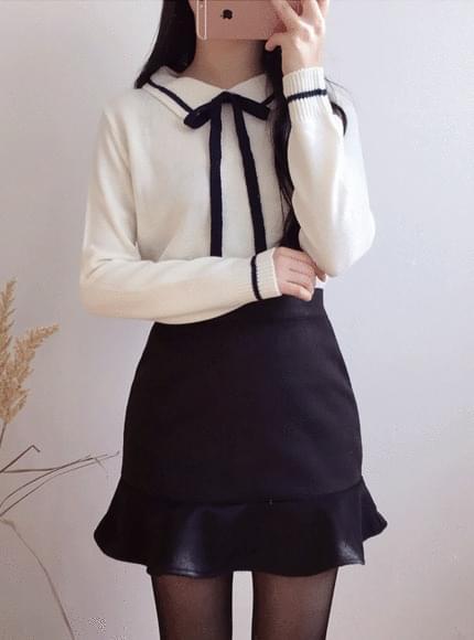 Milky collar ribbon knit