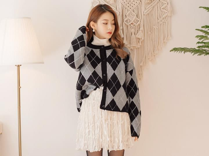 [OUTER] ARGYLE COLORING CARDIGAN