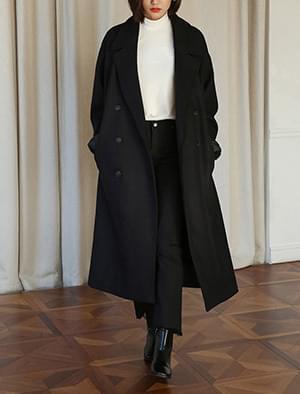 black loose fit maxi coat