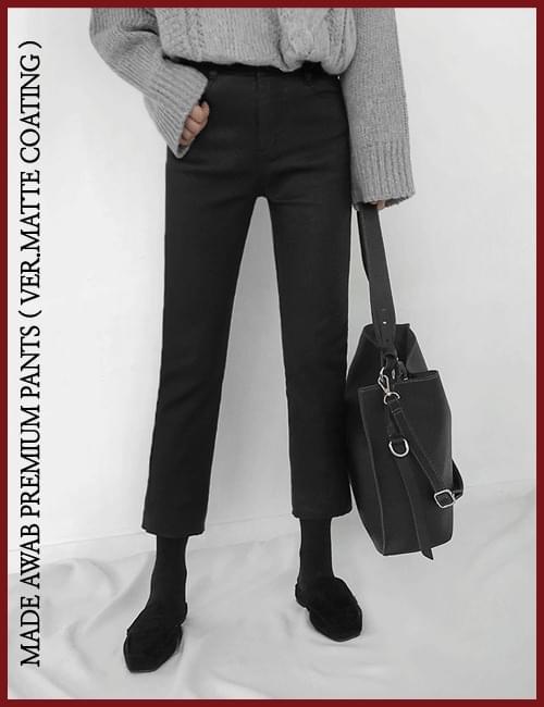 韓國空運 - (pretty jean)微光澤塗層內刷毛彈力直筒褲 長褲