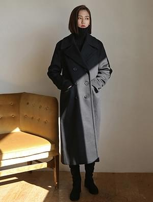 wool 90 double button coat