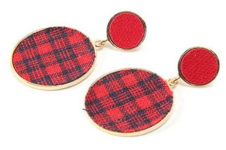 waffle check earring