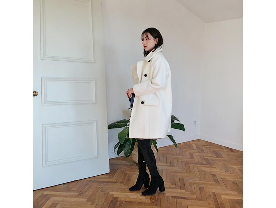 Boucle double pea coat_H (size : free)