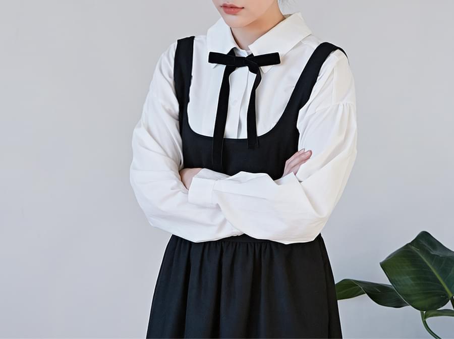 Ribbon tie cotton shirts_H (size : free)