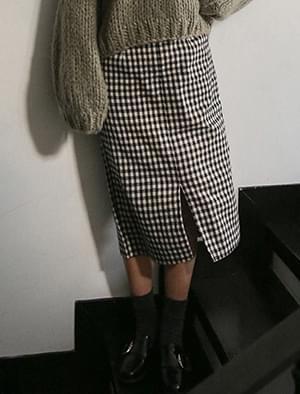 gingham check slit banding skirt