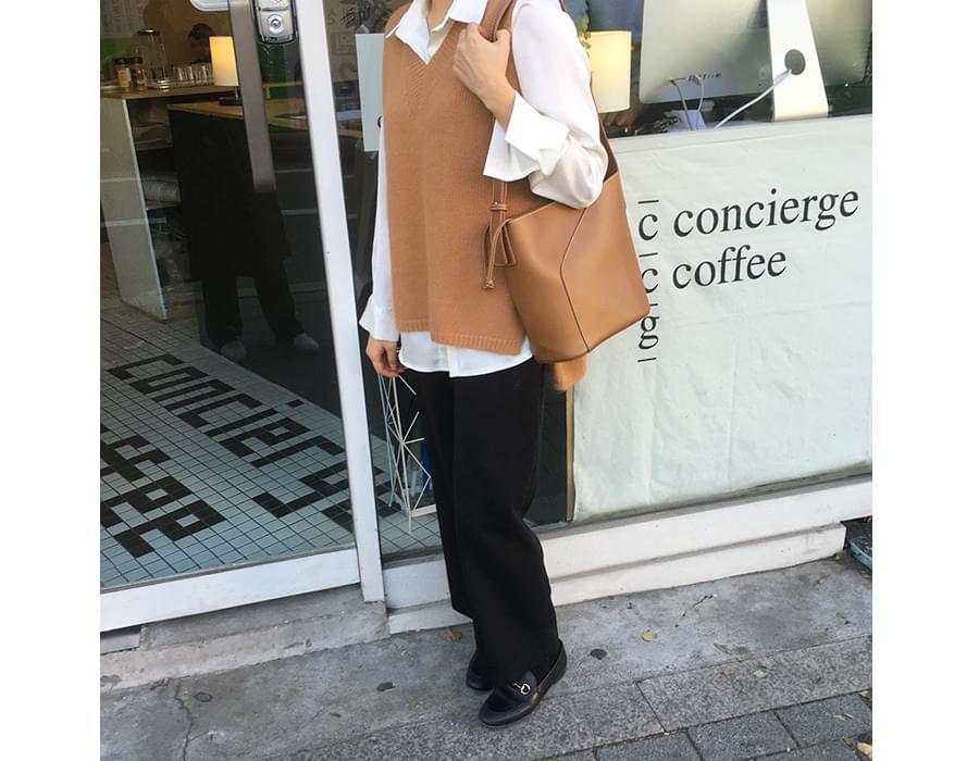V-neck angora knit vest_K (size : free)