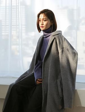 basic over fit wool long coat
