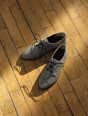 mannish check loafer