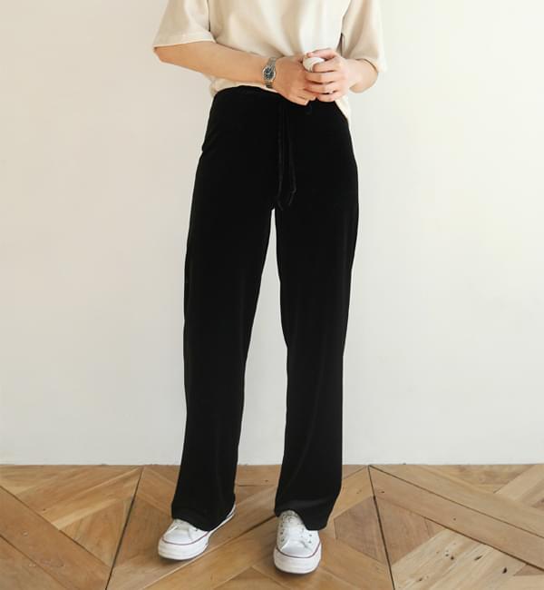 Velvet straight pants
