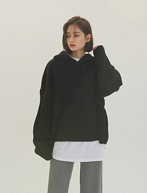 Daily ribbed hooded knit